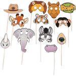 cama24com Safari-Motto-Party Foto-Requisiten Elefant Tiger und Co. 12 Stück Kindergburtstag mit Palandi® Stcker