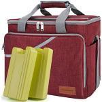 CANWAY Faltbar Thermotasche Picknicktaschen Cooler Bag Kühltasche 40-Dosen Große Isoliertasche mit 2 Eisdosen für Reisen Outdoor Wandern Grillen Party Rot