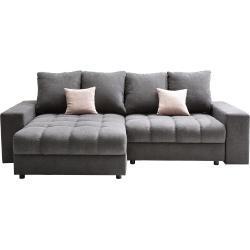 Carryhome WOHNLANDSCHAFT Grau, Rosa Struktur, Graphit, Rosa, 4-Sitzer, 163 cm