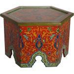 Casa Moro Beistelltisch »Orientalischer Beistelltisch Walid Höhe 43 cm x Ø 70 cm aus Holz handbemalt, Vintage Sofatisch Handmade Tisch, RK610«