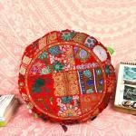 Casa Moro Bodenkissen »XL Patchwork Yogakissen Lali Mittel Ø 55cm x Höhe 10cm rund mit Füllung, Indisches Sitzkissen orientalisches Chillkissen im Boho Style«, Boho Style, MA1507