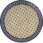 Casa Moro Gartentisch »Marokkanischer Mosaiktisch blau terrakotta Ø 90cm rund mit Gestell Höhe 73 cm, Kunsthandwerk aus Marrakesch