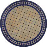 Casa Moro Gartentisch »Mediterraner Mosaiktisch Ø 70 cm rund blau Terrakotta mit Gestell H 73 cm, Kunsthandwerk aus Marokko, Dekorativer Tisch Balkontisch Beistelltisch, MT2084«