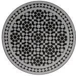 Casa Moro Gartentisch »Mediterraner Mosaiktisch Ø 70 cm rund schwarz weiß glasiert mit Eisengestell, Kunsthandwerk aus Marokko, Dekorativer Balkontisch Boho Beistelltisch, MT2144«