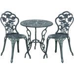 Casa.pro - Gartenmöbelset Wakefield Tisch rund mit 2 Stühlen Gusseisen Dunkelgrün