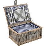 casa.pro Picknickkorb für 4 Personen Besteck-Set Picknick-Set mit Besteck Weidenkorb Blau Weiß