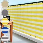 casa pura Balkon Sichtschutz UV-Schutz   90x500cm   wetterbeständiges und pflegeleichtes HDPE-Spezialgewebe   gelb-weiß gestreift