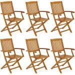 Casaria Gartenstuhl Boston 6er Set klappbar Akazienholz