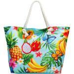 Caspar Strandtasche »TS1055 große Damen XXL Strandtasche mit bunten Hawaii Motiven«, türkis / Südfrüchte
