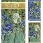 Caspari Van Gogh Schwertlilien Bridge Set inkl. 2Decks Spielkarten/4Score Pads/4Bleistifte,, Holz, Violett, 7,8x 20.35X 0,55cm