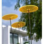 Cazador-del-sol,Sonnenfänger Tres mit Schwingstab, 1,75 m hoch, Ø 200 mm, Acrylglas, gelb, 3er Set