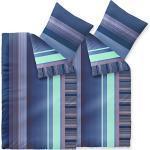 CelinaTex Harmony Bettwäsche 155 x 220 cm 4teilig Mikrofaser Bettbezug Alina Streifen Blau Türkis