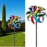 Cepewa Windrad Turbine Mehrfarbig mit metallischem Farbeffekt Windspiele zur Gartendekoration mit Erdspieß (1 x Windrad Turbine)
