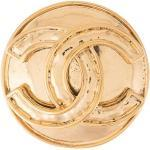 Chanel Pre-Owned 1994 Runde Brosche mit CC - Gold