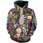 Langärmelige Streetwear Rick and Morty Herrenpullover mit Kapuze Übergrößen