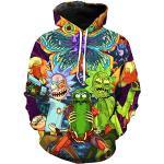 Chaos World Herren Kapuzenpullover Cartoon 3D Druck Grafisches Pullover Langarm Sweatshirt Mit Taschen(XL,1Kannibale Blume)