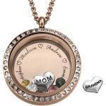 Charm-Medaillon mit Gravur und Rosévergoldung - für Mutter oder Großmutter