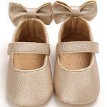 Cheerful Mario Lauflernschuhe Baby Mädchen Taufe Schuhe für Kleinkind Weiches Leder Schleife schöne Babyschuhe Gold 12-18 Monate