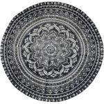 Chic Antique Teppich mit Blumendruck 120cm rund Jute schwarz weiß