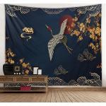 chinesische Wand Wandteppich Kunst Dekor Decke Vorhang Picknick Tischdecke hängen zu Hause Schlafzimmer Wohnzimmer Wohnheim Dekoration Kranich Vogel Blume Wolke Lightinthebox