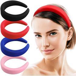 Chudian 4 Stück Haarreifen Damen, Stirnband Vintage Haarband Breite Gepolstertes Haarbänder aus Schwamm Kopfband für Frauen Mädchen Sport Yoga Bunte Haarreif (4 Farbe)