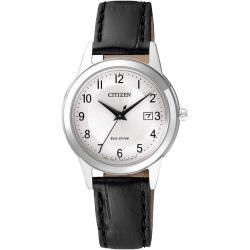 CITIZEN Solar-Armbanduhr 'Leder FE1081-08A' für Damen