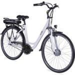 Weiße 26 kg LLobe E-Bikes mit Beleuchtung 28 Zoll mit Nabenschaltung mit Rücktrittbremse mit Vorderradmotor