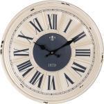 Clayre & Eef Wanduhr »Wanduhr 1879 dunkelblau cremeweiß D40cm antik römische Zahlen shabby chic Metall«