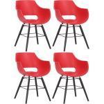 CLP 4er Set Stuhl Skien Kunststoff I Besucherstühle Mit Kunststoffsitzschale I Kunststoffstuhl Mit Buchenholz Gestell I Küchenstuhl Mit Lehne... rot, Schwarz