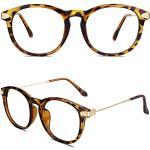 CN88 Klassische Nerdbrille rund Keyhole 40er 50er Jahre Pantobrille Vintage Look clear lens,Hornbrille Braun