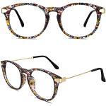 CN88 Klassische Nerdbrille rund Keyhole 40er 50er Jahre Pantobrille Vintage Look clear lens,Mehrfarbig B