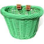 Colorbasket Unisex-Erwachsene Junior Front Handlebar Wicker Bike Basket Fahrradkorb für Kinderlenker, Weidenkorb, grün, Green