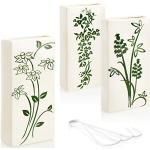 com-four® 3X Luftbefeuchter aus Keramik - Heizkörper-Verdunster zum Befeuchten der Raumluft - Wasserverdunster mit S-Förmigen Haken Heizungsverdunster mit Blumen-Motiven (weiß - schwarz-grüne Blumen)