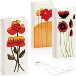 com-four® 3X Luftbefeuchter Heizung - Heizkörper Luftbefeuchter in Creme-weiß - Heizung Wasserverdunster aus Keramik mit verschiedenen Blumenmotiven (weiß - rote Mohnblumen)