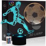 Comiwe Fußball 3D Illusion Nachtlicht Spielzeug,Dekoration LED Nachttischlampe 16 Farben Ändern mit Fernbedienung,Deko Lampe Weihnachtsgeschenk Geburtstagsgeschenk Für Jungen Kinder Freunde-2 Muster