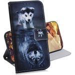 COTDINFOR Huawei P20 Lite 2019 Hülle Kreativ Art Painted Schutzhülle PU Leder Flip Bookcase Handy Tasche Schale mit Magnet Standfunktion Etui für Huawei Nova 5i / P20 Lite 2019 Wolf Dog TX-CH.