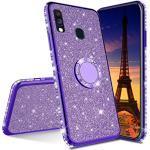 COTDINFOR Huawei Y7 Prime 2019 hülle Glitzer Diamond Handyhülle Bling stoßfest Ring Schnalle Kickstand Plating TPU Schutzhülle Weich Silikon Etui für Huawei Y7 Prime 2019 - Purple Glitter