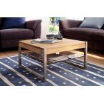 Couchtisch aus Asteiche massiv, Tisch, Wohnzimmertisch, Sofatisch, Massivholz, Metallgestell, Maße: B/H/T ca. 65/38/65 cm
