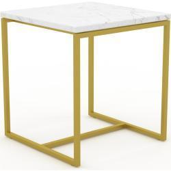Couchtisch Marmor, Weißer Carrara, mit Gold - Eleganter Sofatisch: Beste Qualität, einzigartiges Design - 42 x 46 x 42 cm, Konfigurator