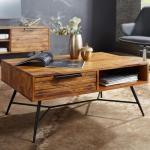 Couchtisch NISHAN 87 x 41 x 55 cm Sheesham Massiv Holz Design Holztisch mit Stauraum und Schublade M