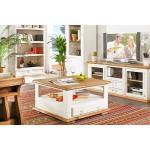 Couchtisch quadratisch MEXICO weiß / honig, Pinie, Landhausstil Möbel, shabby