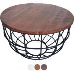 Couchtisch rund Lexington ø 75 cm Metall Gitter Drahtgestell Massivholz Wohnzimmer-Tisch : braun - bassano (CAS030035-000000-001820)