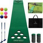 Crestgolf Golf Beer Pong Spielset Grüne Matte, Golf Putting Matte mit 2 Puttern, 6 Golfbällen, 12 Golf Lochabdeckungen für den Innen- und Außenbereich