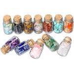 CrystalTears Chakra Steine Edelstein Set 12 Miniwünschen Flaschen mit 7 Chakren Trommelsteine Deko Healing Reiki Kristall für Yoga Meditation