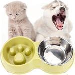 Cxssxling Hundenapf Anti Schling Napf, Langsam Essen Fütterung Edelstahls Hundenapf, Doppelt Hundenäpfe Fressnapf, Fressnapf Hund Katze Futternapf Hundenapf