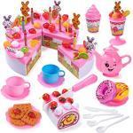 Czemo Geburtstagstorte Spielzeug Lebensmittel, 99 Stück Geburtstagstorte für Spielküche, Puppengeschirr Küchenzubehör mit Kerzen, Obst, Eiscreme, Kekse, Süßigkeiten und Schokolade für Kinder