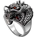 Daesar Herren Sterling Silber Ring Chinesischer Drache mit Rot Zirkonia Partnerringe für Männer Freundschaftsringe Silber Größe 68 (21.6)