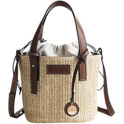 DAKERTA Damen Handtasche Schultertasche Beuteltasche Casual Multifunktionale Umhängetaschen, Stroh Handtasche mit Webmuster Tunnelzugverschluss Gute Helligkeit und Verschleißfestigkeit für Sommer