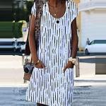 Damen A Linie Kleid Knielanges Kleid Blau Orange Weiß Kurzarm Geometrisch Tasche Druck Sommer Rundhalsausschnitt heiß Freizeit S M L XL XXL 3XL 4XL 5XL Lightinthebox