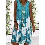 Damen A Linie Kleid Minikleid Blau Grau Ärmellos Blumen Druck Sommer V-Ausschnitt heiß Freizeit Festtage 2021 S M L XL XXL 3XL 4XL 5XL / Übergrössen / Übergrös Lightinthebox